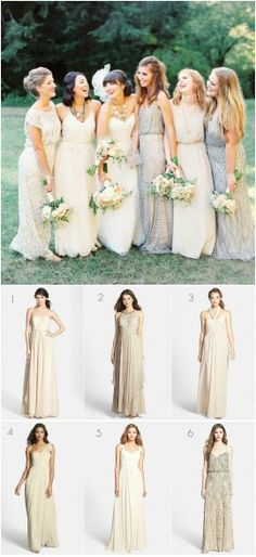 Mismatched bridesmaid dresses. I love the neutral bridesmaid dress look! http://www.thebridelink.com/blog/2014/09/04/mismatched-neutral-bridesmaid-dresses/