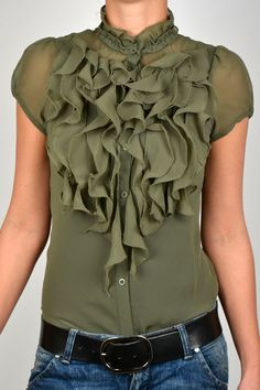 SAINT TROPEZ S/S13 TOP W RUFFLE #newcollection #fashion #shirt #blouse
