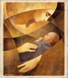 Abstract Art Mary and Jesus J Kirk Richards Madonna, Fine Art, Painting, Art, Madonna And Child, Catholic Art, Christian Art, Abstract, Sacred Art