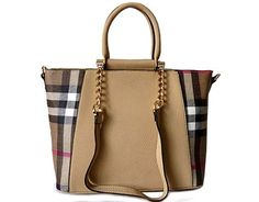 DESIGNER STYLE BEIGE CHECKED HANDBAG WITH CHAIN LINKED STRAPS - A-SHU.CO.UK, £29.99