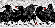 Squabbling Ravens by Donna Reed
