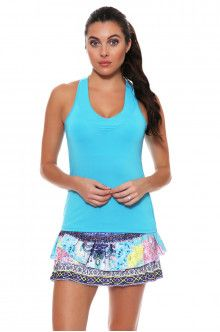 Lucky In Love Women's Print Medley Festival Pleat Tier Pink Tennis Skirt