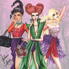 Hocus Pocus fashion collection by Guillermo Meraz - Sanderson sisters | Happy Halloween!