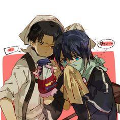 Yato cleans for Levi. (Noragami / Shingeki no Kyojin)
