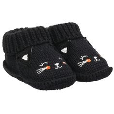 Crocheted Halloween Booties - Carter's - Roll cuff keeps little feet from wiggling out,  Knit-in design,  3-D ears,  Zoom in to see embroidered face,  100% cotton. Wash before wear. Machine washable. Cute black cat booties are purr-fect for Halloween and every day in between. Size: 0-6M Color: Black