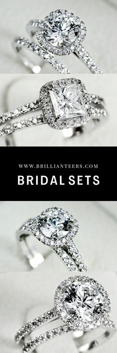 Who can ever say no to a beautiful bridal set! We have designed a full collection of bridal sets, pairing our best selling engagement ring designs, with complimenting wedding bands! Find your dream bridal set at Brillianteers.com Engagement Wedding Ring Sets, Designer Engagement Rings, Engagement Ring Settings, Diamond Wedding Bands, Diamond Rings, Diamond Engagement Rings, Wedding Rings, Bridal Sets, Ring Designs