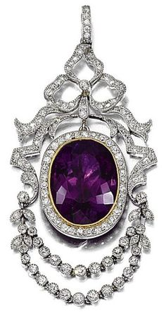 AMETHYST AND DIAMOND PENDANT, CIRCA 1910. Amethyst, ribbon design surmount and swags millegrain-set with single and rose-cut diamonds, fitted case, Hancocks & Co, 1 Burlington Arcade, London, W1X 1LD.