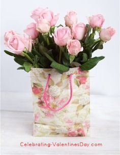 Roses in a Gift Bag - Valentine's Day FLower Arrangement Ideas That's right!
