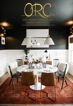 Black dining room with white tulip table. Mixed dining room chairs | One Room Challenge