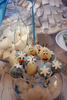 Frozen Birthday Party cake pops!  See more party ideas at CatchMyParty.com!