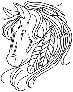 Horse and Feathers design (UTH5114) from UrbanThreads.com