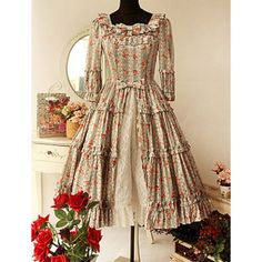 Flora Print Half Sleeve Lolita Dress