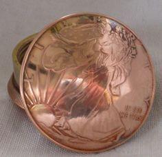 American Liberty Walking & Liberty Head 1 Ounce Copper Round Coin Screw Top Lid Snuff Box / Stash Box / Trinket Box / Keepsake - Handcrafted...