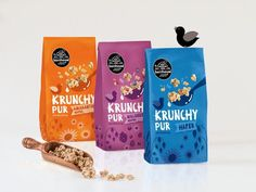 This design varies between geometric, and curved illustrations, these create a pattern to characterize the packaging. The use of actual images helps to create depth and bring them forward in front of all of the other elements. The negative space text on the colored background has great contrast.