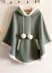 Fashion Three Quarter Sleeve Fleece Green Hooded Cap Sweatshirt