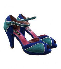 Sandales à talon tricolores bleu, turquoise, piping argent - Chaussures - Accessoires • Souleiado - Mode femme et art de vivre provençal