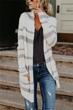 Fashion Striped Long Knitted Cardigan A Trip Through My Sweater Drawer I wager like most girls I lov Cool Summer Outfits, Winter Outfits Women, Fall Outfits, Casual Outfits, Fashionable Outfits, Outfit Summer, Look Fashion, Autumn Fashion, Fashion Outfits
