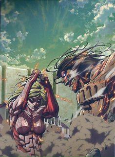 Annie vs Eren official art. (Photo not mine)