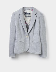7a86038f09 Justine Grey Marl Textured Blazer | Joules UK Country Clothing Stores,  Printed Blazer, Jacket