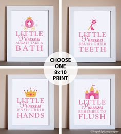 Would like to mix it up a little - princess, fairies, ponies, princess pirates, princess monsters - not just princesses Girl Bathroom Decor, Baby Bathroom, Bathroom Rules, Bathroom Prints, Bathroom Art, Pirate Bathroom, Disney Bathroom, Remodel Bathroom, Bath Decor