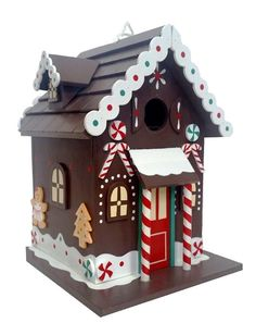 Functional birdhouse with whimsical detail hosts feathered friends with cozy good cheer! Holiday birdhouse is equipped with drainage, ventilation and back door that opens for easy clean-out. Decorated