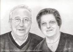 Retrato a lápiz por encargo. Tamaño A3 por SoniaCorralArt en Etsy. You can order your custom portrait at -- Puedes encargar tu retrato en http://www.soniacorralart.etsy.com
