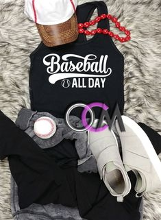 Baseball All Day Tank Top, Baseball Mom Tank, Ladies Baseball Tank Top, Baseball All Day Racerback- Racerback - One Crafty Momma Baseball Mom Shirts, Baseball Gifts, Baseball Tank, Baseball Stuff, Crafty, Tank Tops, Lady, Tees, Style