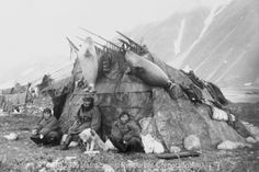 An Inuit Eskimo hut and family, 1899