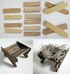 Pesebre de Belen o Natividad / Manger from recycled craft sticks/ (in Spanish -- lots of photos) Nativity Stable, Christmas Nativity Scene, Nativity Crafts, Christmas Villages, Christmas Art, Christmas Decorations, Christmas Ornaments, Popsicle Stick Crafts, Craft Stick Crafts