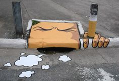Smoking 3d Street Art, Street Art Utopia, Amazing Street Art, Street Art Graffiti, Street Artists, Amazing Art, Awesome, Urban Graffiti, Banksy