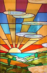 From a stained glass window. I'd like it if the sun beams broke the frame and kept going. Glass Painting Patterns, Stained Glass Patterns Free, Stained Glass Quilt, Faux Stained Glass, Stained Glass Designs, Stained Glass Panels, Stained Glass Projects, Leaded Glass, Mosaic Glass