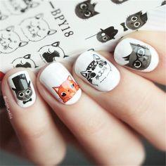 BORN PRETTY Cute Cat Nail Art Water Decals Transfer Sticker Manicure Decoration 2 Patterns/Sheet BPY18  Price: 0.88 USD