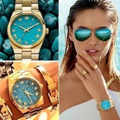 Michael Kors Gold Turquoise Watch Gently worn with light scratching on bracelet. 3 links were removed but this watch is under warranty so you can order the links if you need it. All reasonable offers welcome but please no lowballing. Michael Kors Accessories Watches