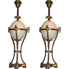Pair of Gilt Bronze Ostrich Egg Lamps by Charles | From a unique collection of antique and modern table lamps at https://www.1stdibs.com/furniture/lighting/table-lamps/
