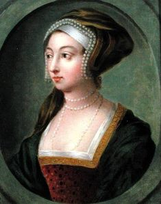 Portrait of Queen Anne Boleyn (1507-36) (oil on copper) by English School, (18th century) oil on copper 21x15.1 Private Collection