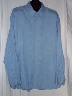 Tommy Bahama Palm Trees Long Sleeve Light Blue Button Front Shirt Size: 2XL #TommyBahama #ButtonFront