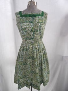 Vintage 1950s Dress Green Floral Don About by TimelessTreasuresVCB, $48.00