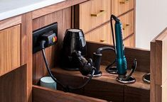 Create an in-drawer charging station w/Blade Series outlets. Blade charging outlets are simple to install into almost any cabinet without modifying the drawer box. Bathroom Drawers, Vanity Drawers, Bathroom Cabinets, Hair Dryer Storage, Styling Stations, Tool Bench, Aging In Place, Hot Tools, Electrical Outlets
