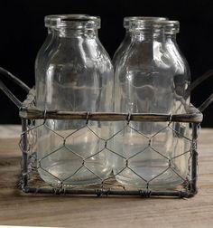 Glass Milk Bottles in Chicken Wire Carrier (4 bottles)