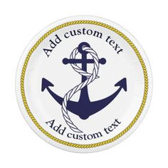 Nautical Anchor Custom Party Paper Plates