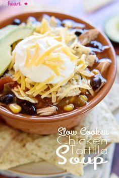 Slow Cooker Chicken Tortilla Soup @FoodBlogs