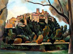 Vista de Saint Paul de Vence, 1910, oil on canvas. Museum Ludwig, Cologne, Germany. Cubism, Andre Derain (1880-1954).