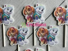 Paw Patrol Everest and Skye Cupcake Toppers  set by 21CreationsToo