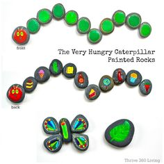 The Very Hungry Caterpillar painted rocks are easy and fun to make. Perfect for reading along with kids.
