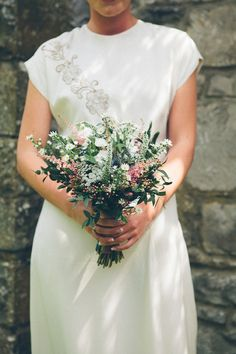 vintage, wildflower wedding flowers bouquet, image by India Hobson