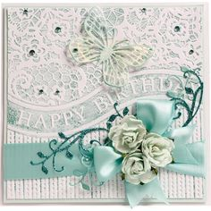 Apple Blossom All Occasion Collection - Lacy Birthday 6x6 embossing folder - CraftStash