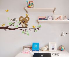 Koala Bear Decal Personalized Name Decal Tree Branch by PopDecors