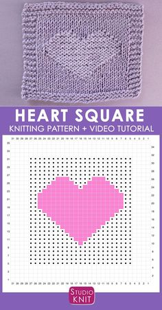 Heart Knit Stitch Pattern Chart with Video Tutorial by Studio Knit Heart Knit Stitch Pattern Chart with Video Tutorial by Studio Knit Beginner Knitting Patterns, Knitting Machine Patterns, Knitting Charts, Easy Knitting, Knitting For Beginners, Knitting Projects, Knitting Tutorials, Sock Knitting, Knitted Washcloth Patterns