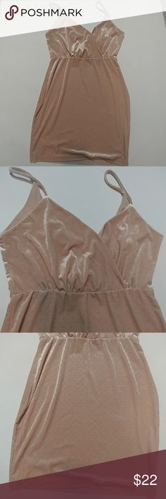 """Windsor Nude Velvet Bodycon Slip Dress sz Large Beautiful! Hard to photograph; velvet slip style dress, fitted, draped front with mini decorative pearl accents all over. SUPER CUTE! Nude color 95% polyester/ 5% spandex Approx Measurements- runs small!  Waist 13.5"""" Bust 17"""" Length 34.5"""" Windsor Dresses Mini"""