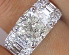 7.36ct Estate Vintage Cushion Diamond Engagement Wedding Ring 18k White Gold EGL USA
